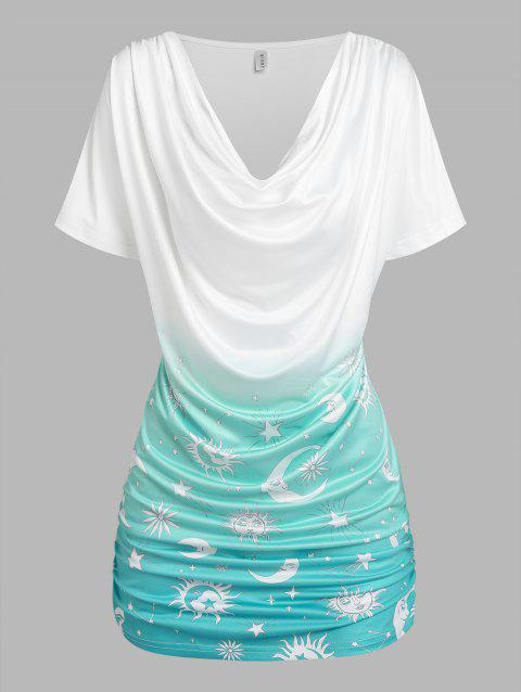 Sun Moon Star Print Ombre Ruched T-shirt