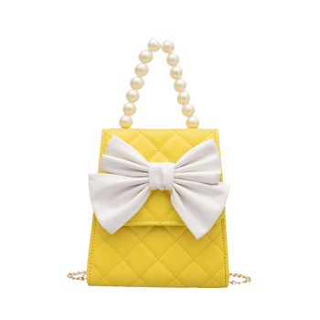 Quilted Bowknot Faux Pearl Handle Crossbody Bag