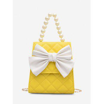 Quilted Bowknot Faux Pearl Handle Crossbody Bag - SUN YELLOW
