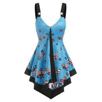 American Flag Butterfly Flowers Print Flare Tank Top