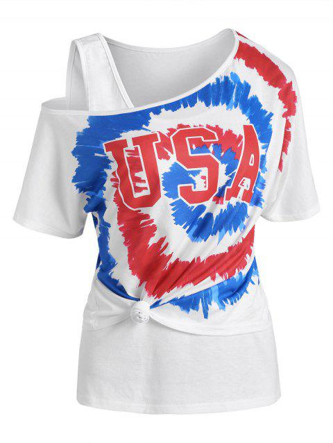 Tie Dye USA Graphic Skew Neck T Shirt with Tank Top
