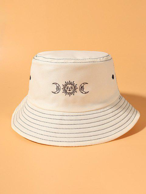 Sun And Moon Print Contrast Stitching Bucket Hat