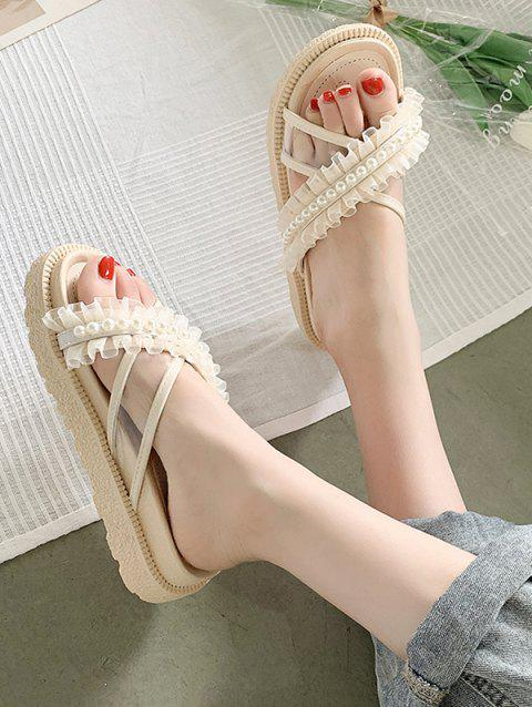 Faux Pearl Lace Strappy Slip-On Sandals