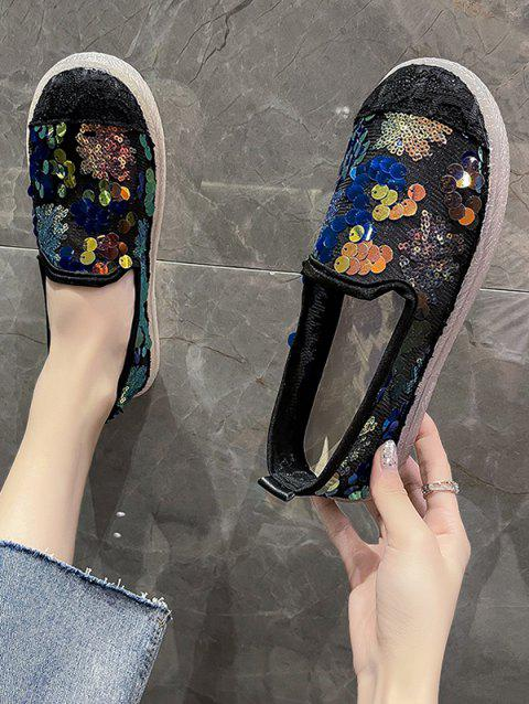 Round Toe Sequined Mesh Slip-On Shoes
