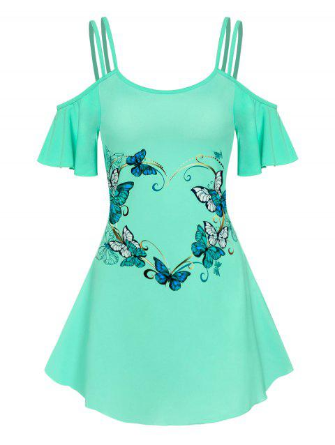 Cold Shoulder Butterfly Print Strappy Dress