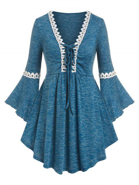 Plus Size Bell Sleeve Lace Up Tee