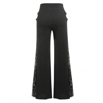 Plus Size Sheer Lace Panel Bell Bottom Pants