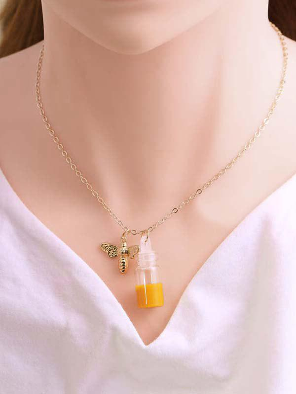 Bee And Honey Pot Pendant Necklace - GOLDEN