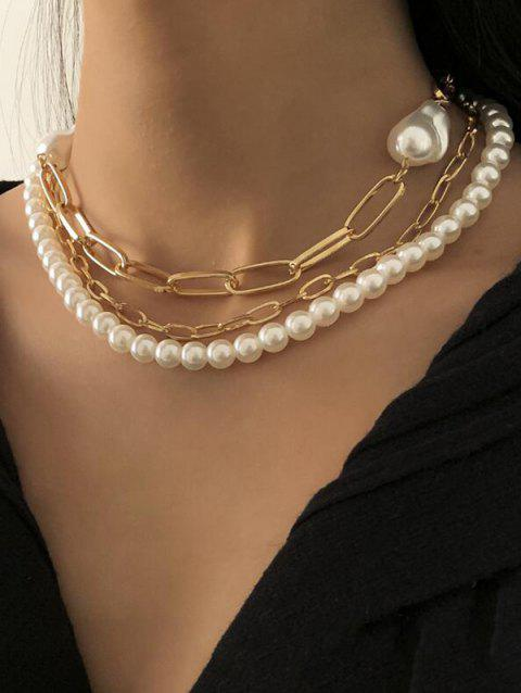 Triple Layer Faux Pearl Chain Necklace