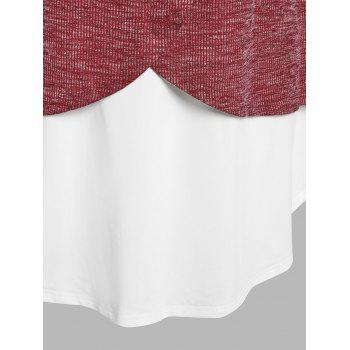 Plus Size Knitted Faux Twinset Top