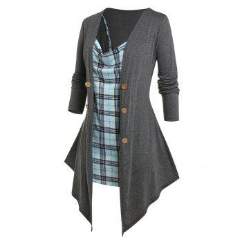 Plus Size Draped Long Sleeve Top and Plaid Top Set