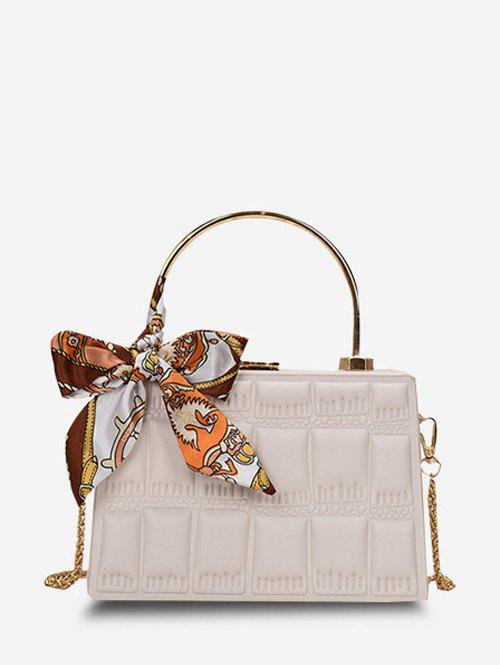 Embossed Quilted Scarf Rectangle Crossbody Bag - NATURAL WHITE