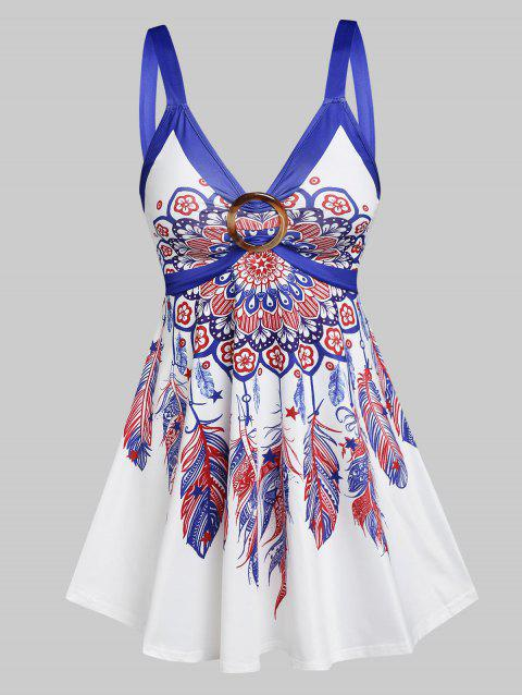 Flower Feather Print O-ring Tank Top