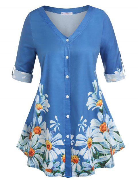 Plus Size Floral Print Roll Up Sleeve Top