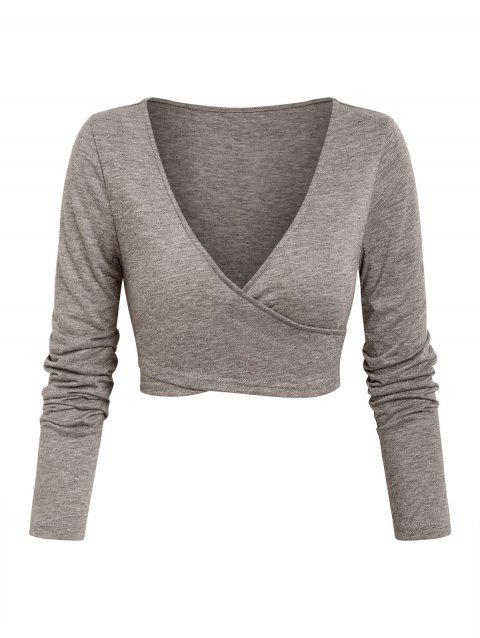 Plunge Neck Crossover Cropped T-shirt