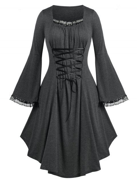 Plus Size Bell Sleeve Lace Up Dress