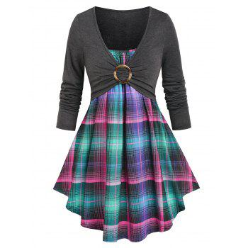 Plaid O Ring Ruched Faux Twinset Tee