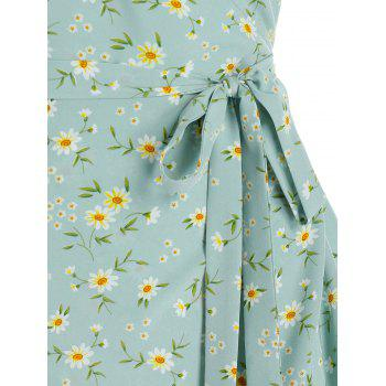 Belted Tiny Floral Print Wrap Dress