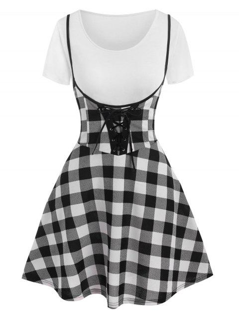 Colorblock Lace Up Two Piece Suspender Skirt Set