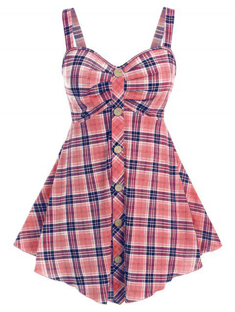 Plus Size Plaid Button Embellished Open Back Tank Top