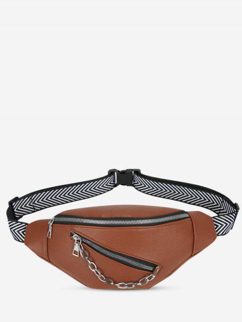 Double Compartment Chain Embellished Bum Bag