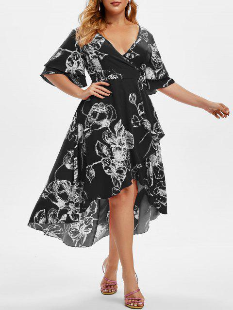 Plus Size Floral Print High Low Bell Sleeve Midi Dress