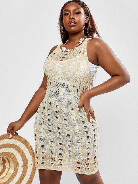 Plus Size Openwork Cover Up Knit Dress