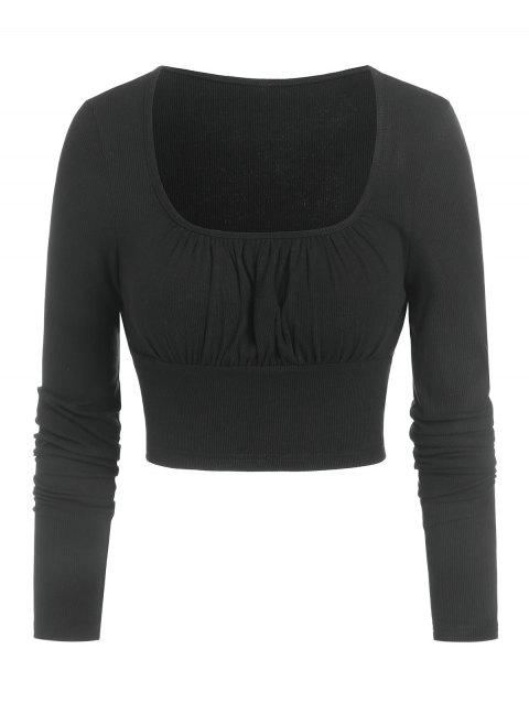 Ruched Bust Ribbed Cropped T-shirt