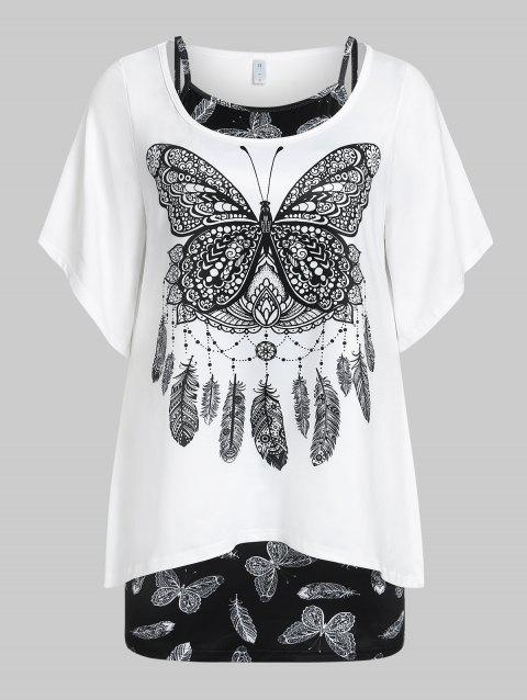 Plus  Size Butterfly Print Bell Sleeve T-shirt and Tank Top Set