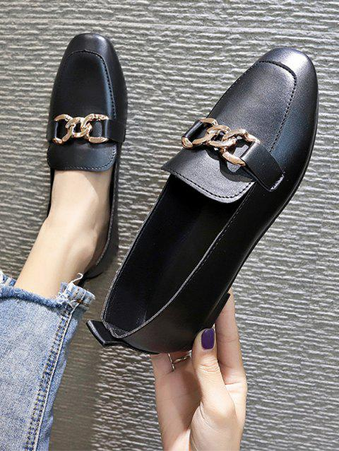 Square Toe Chain Embellished Slip-On Shoes