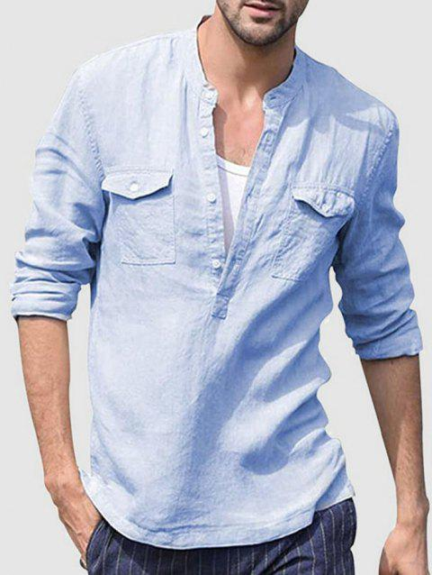 Solid Color Half Button Shirts