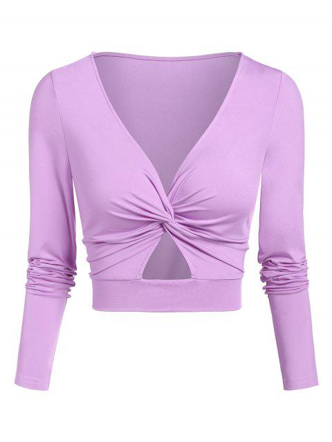 Cut Out Twist Front Cropped T-shirt