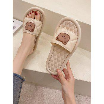 Round Toe Bear Quilted Vamp Slippers