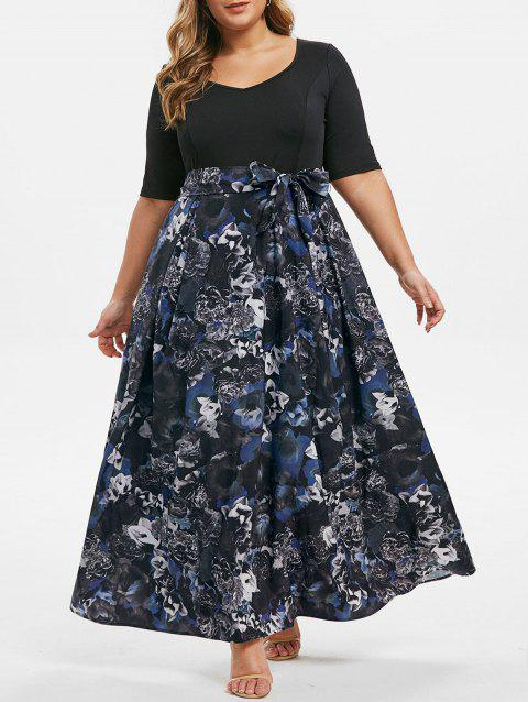 Plus Size Floral Print Belted 2 in 1 Maxi Dress