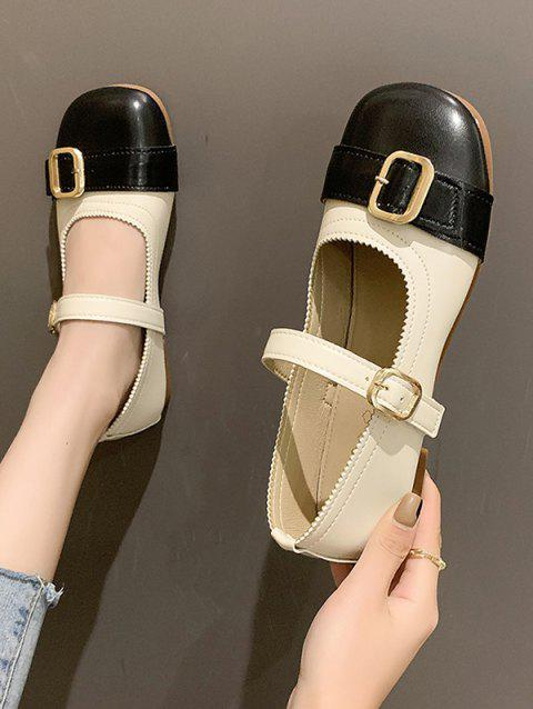 Round Toe Colorblock Faux Leather Shoes