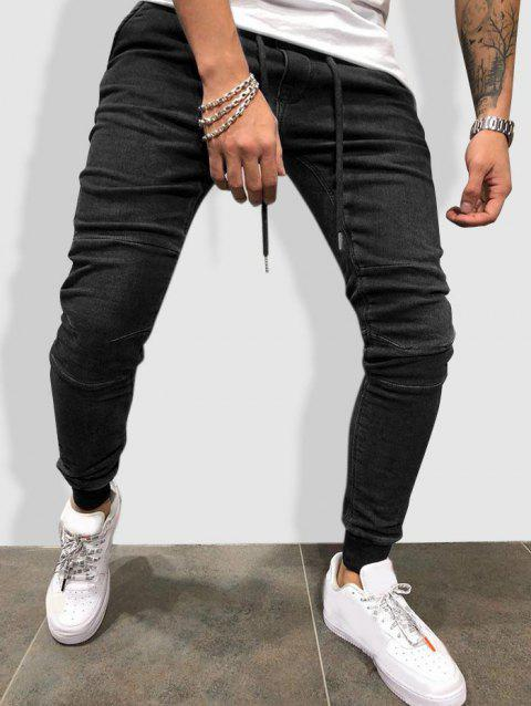 Drawstring Sewing Detail Tapered Jogger Jeans