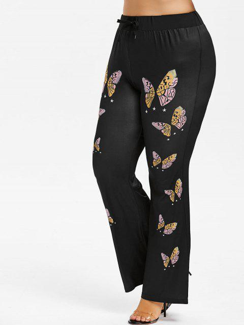 Plus Size Butterfly Print Bell Bottom Pants