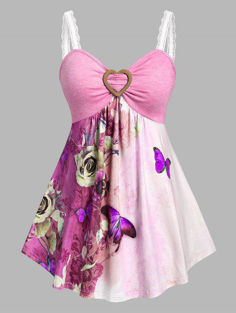 Plus Size Butterfly Flower Print Skirted Tank Top