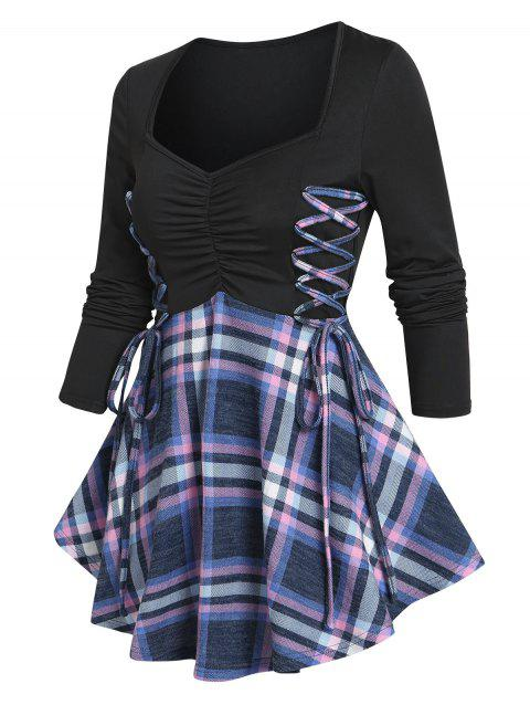 Ruched Bust Plaid Lace Up T Shirt