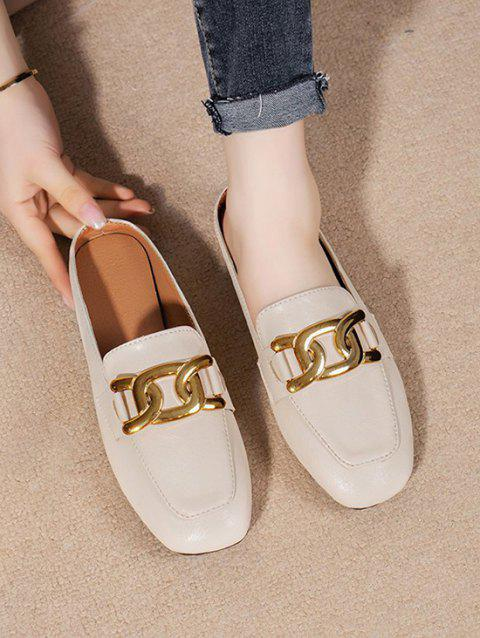 Square Toe Chain Slip-On Shoes
