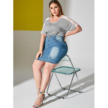 Plus Size Lace Sheer Sleeve Ruched Tunic T-shirt