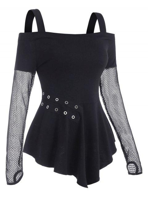 Fishnet Insert Cold Shoulder Grommet T Shirt with Thumb Hole