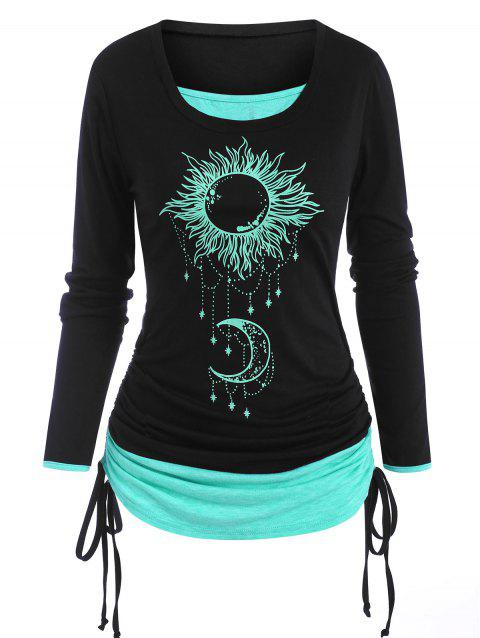 Sun Moon Print Cinched 2 in 1 T Shirt