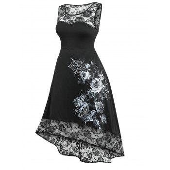 Plus Size Lace Panel High Low Halloween Dress