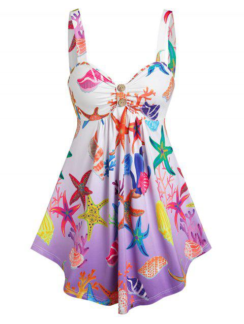 Starfish Conch Print Ruched Bust Tank Top