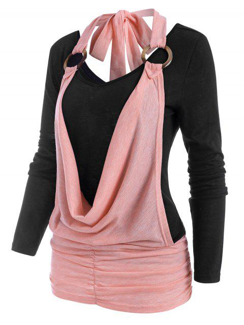 Colorblock Cowl Front O Ring Ruched T Shirt