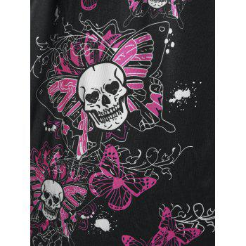 Plus Size Butterfly Skull Print O Ring T Shirt