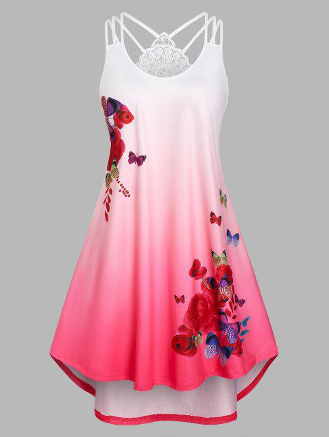 Plus Size Butterfly Print Ombre Color High Low Dress