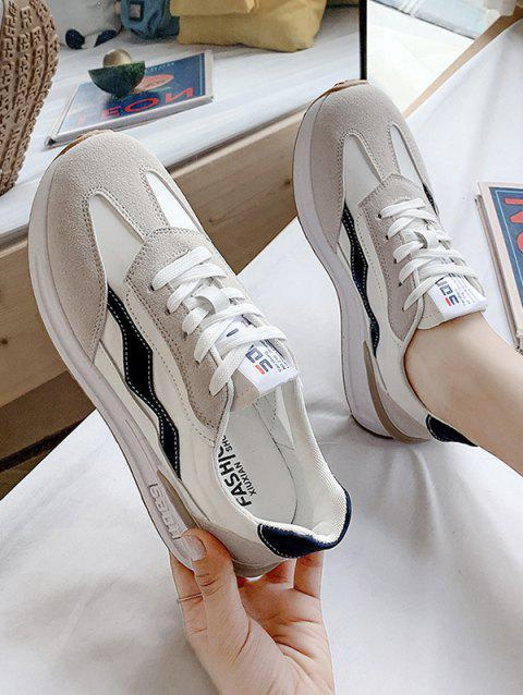 Lace-Up Spliced Flat Sneakers