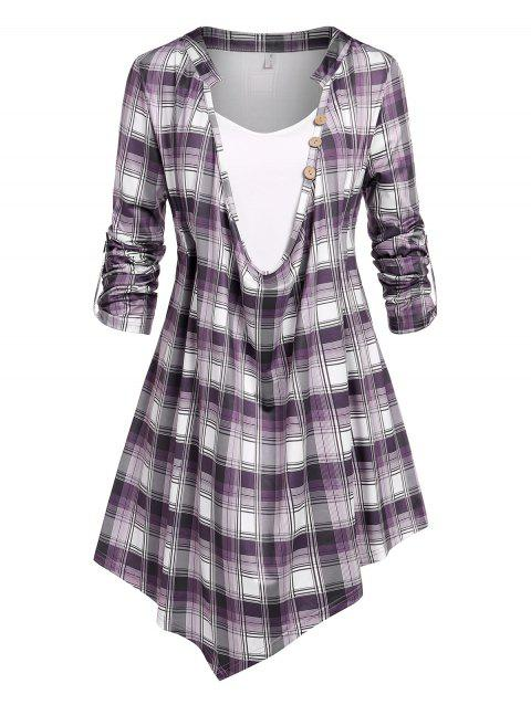 Plus Size Roll Up Sleeve Plaid Cowl Front Tee